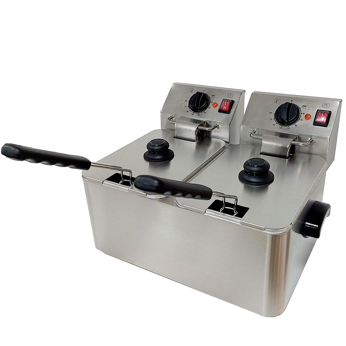 Freidora profesional de 2 cubas con 4 litros de capacidad